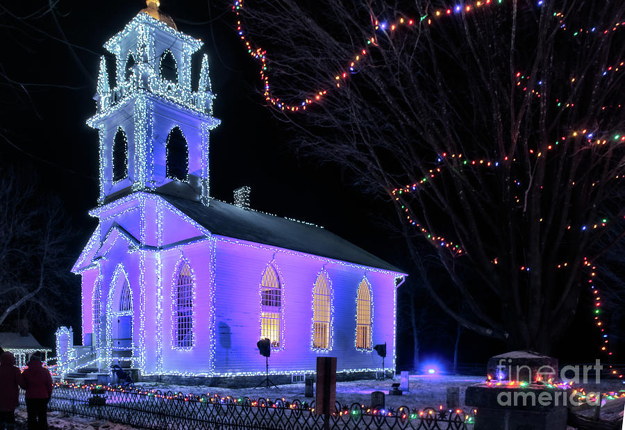 upper canada village photograph upper canada village church with christmas lights by robert mcalpine