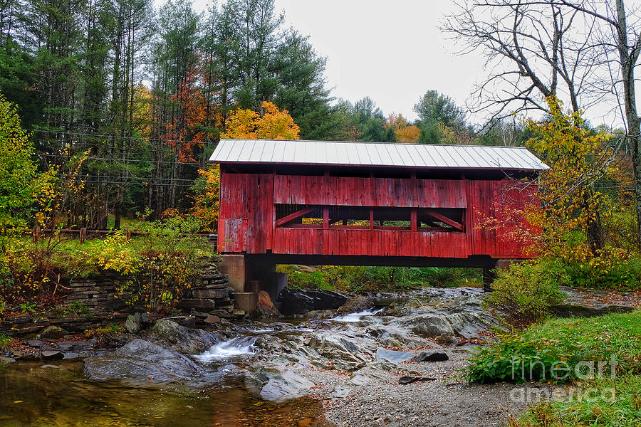 Upper Cox Brook Covered Bridge in Northfield Vermont by T Lowry Wilson
