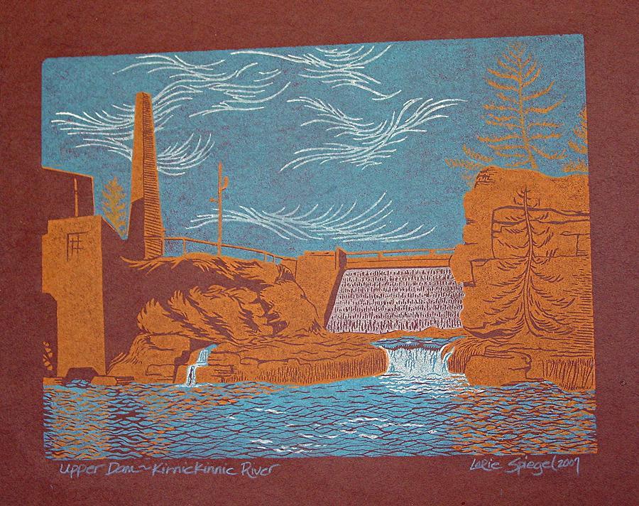 Linoleum Drawing - Upper Dam - Kinnickinnic River by Lorie Spiegel