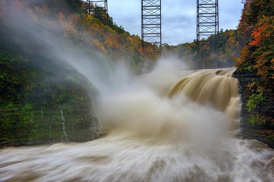 Autumn Photograph - Upper Falls After A Storm by Rick Berk