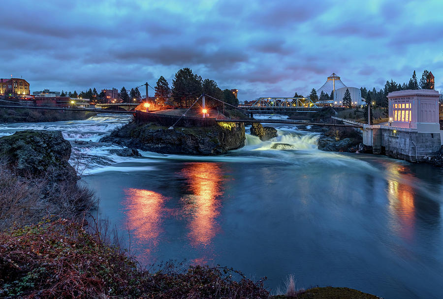 Upper Spokane Falls at Dusk by Harold Coleman