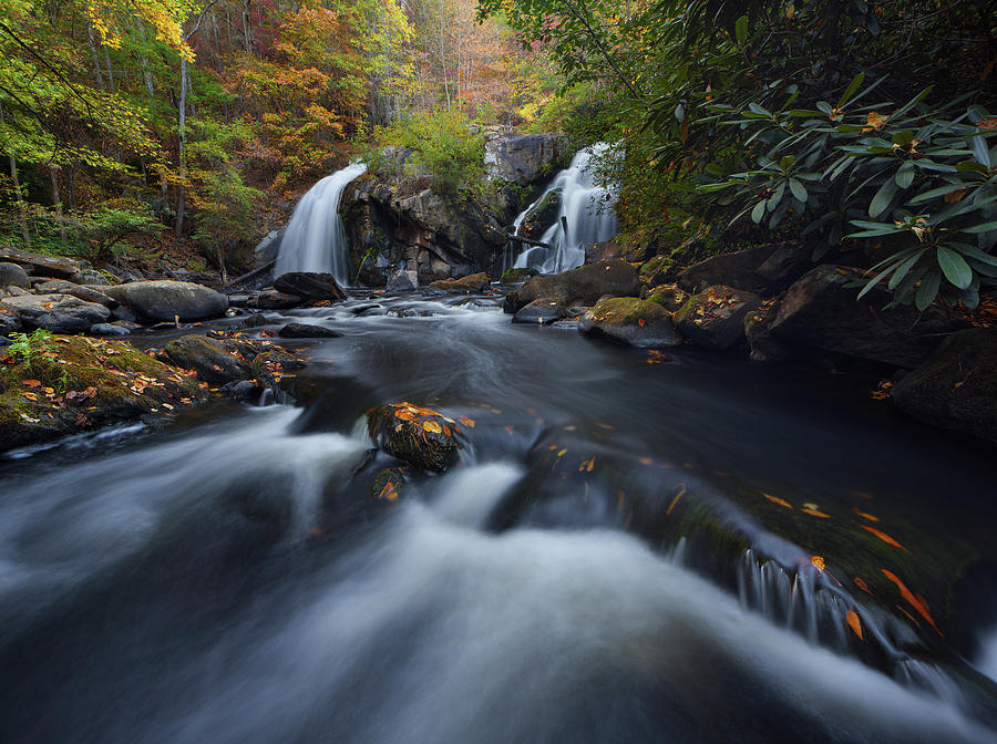 Upper Turtletown Falls Autumn by Dennis Sprinkle