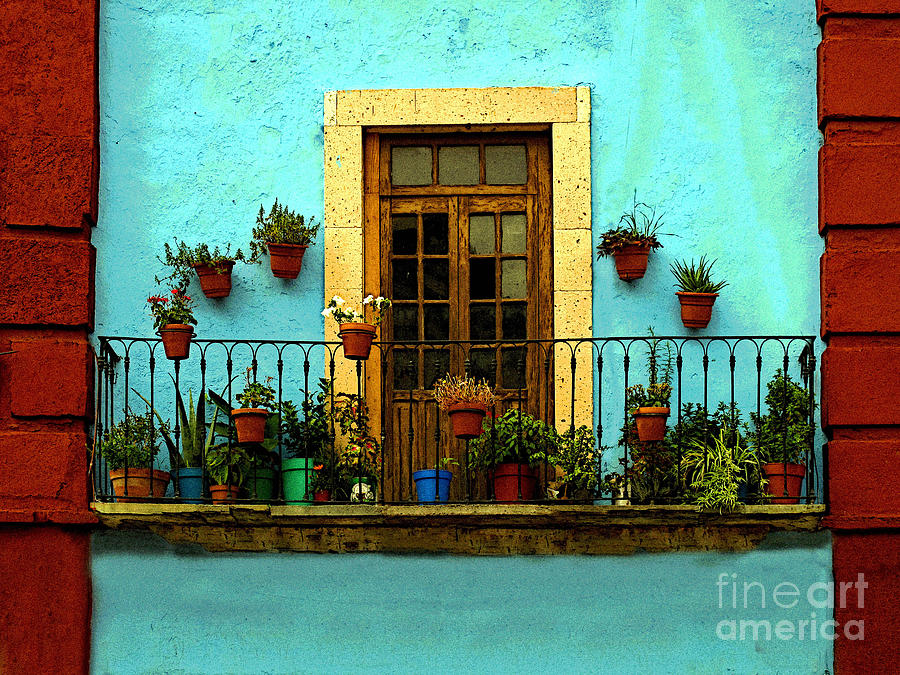 Darian Day Photograph - Upper Window In Turqoise by Mexicolors Art Photography