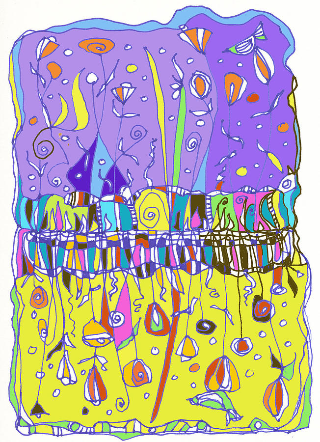 Purple Digital Art - Upside Down Garden by Linda Kay Thomas