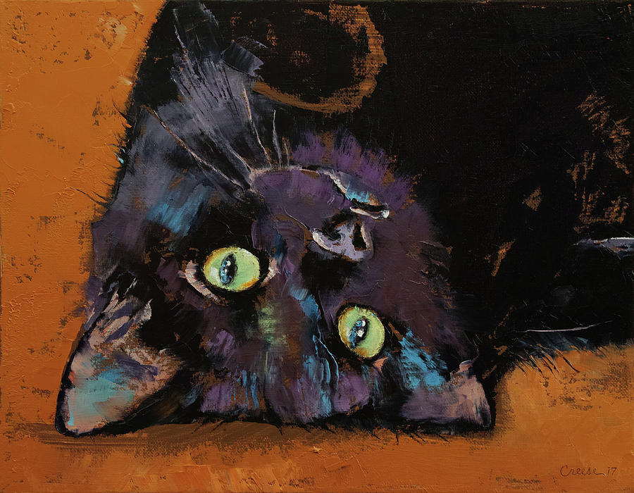 Abstract Painting - Upside Down Kitten by Michael Creese