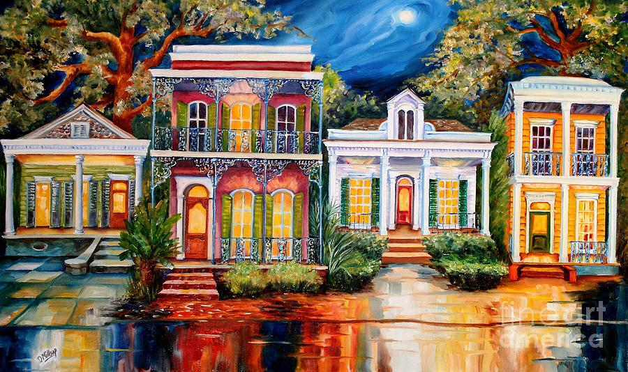 Uptown Painting - Uptown In The Moonlight by Diane Millsap