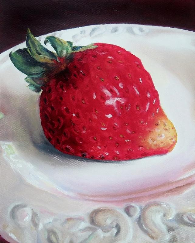 Contemporary Still Life Painting - Uptown Strawberry Girl by Wendy Winbeckler Kanojo