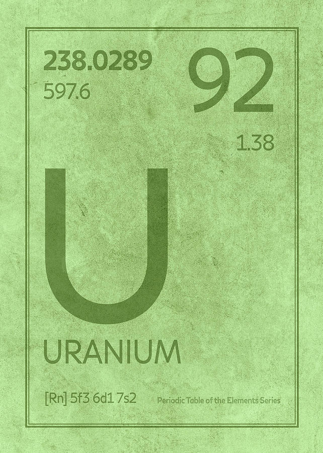 Uranium Element Symbol Periodic Table Series 092 Mixed Media By