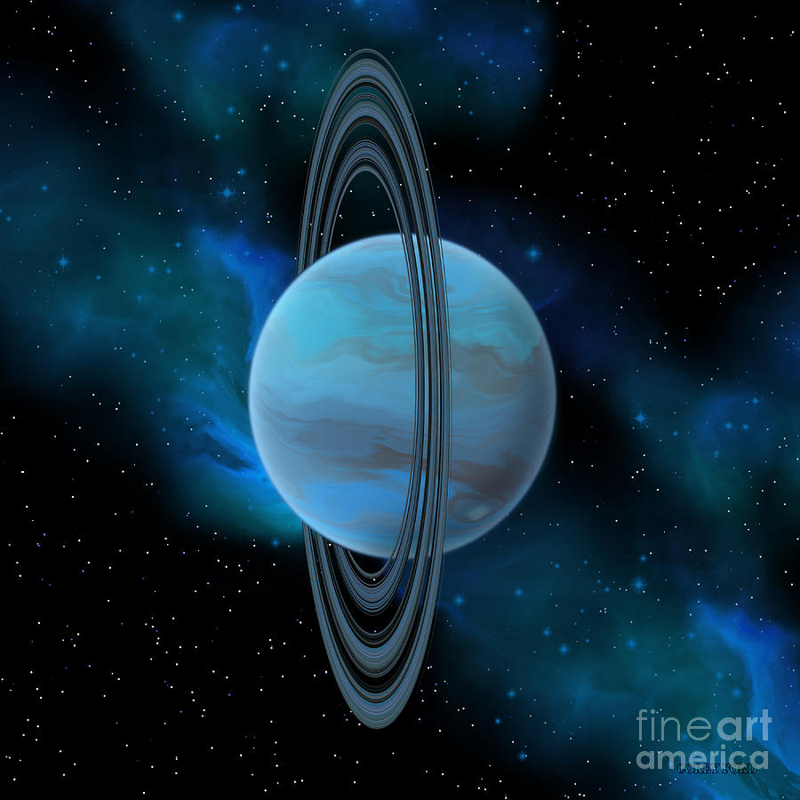 Uranus Planet Painting by Corey Ford