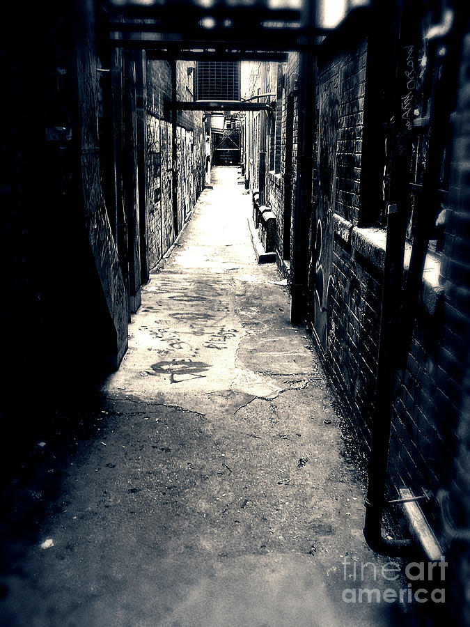 Black And White Photograph - Urban Alley by Phil Perkins