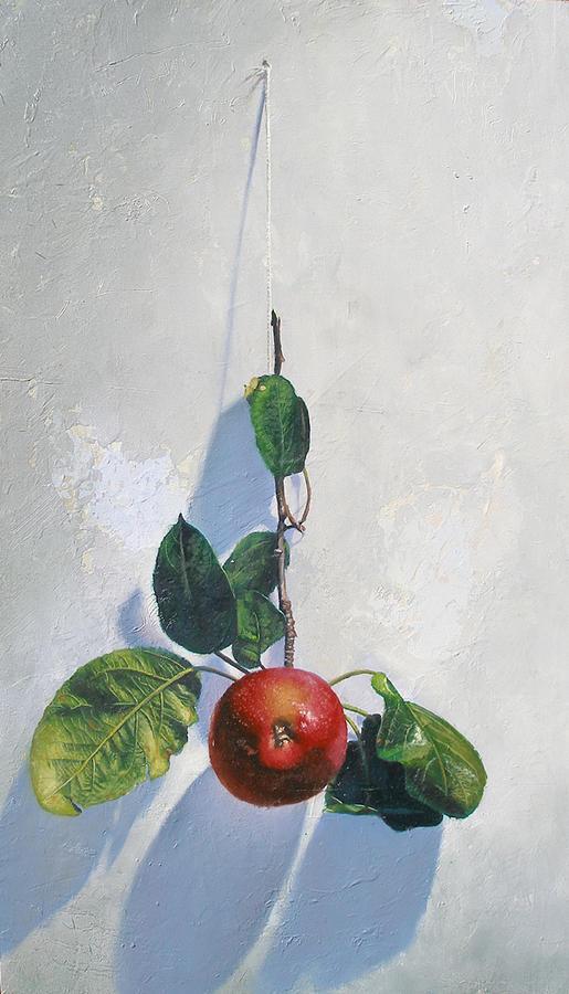 Still Life Painting - Urban Apple by Paulo Jimenez