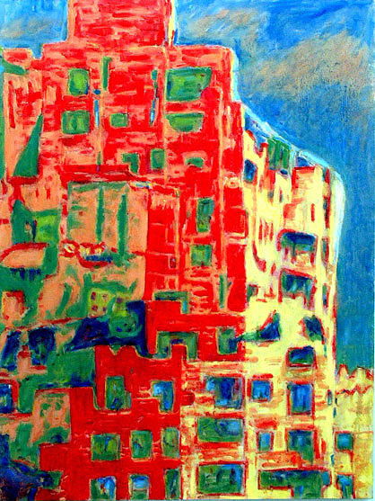 Abstraction Painting - Urban Architecture by Keith  Webb