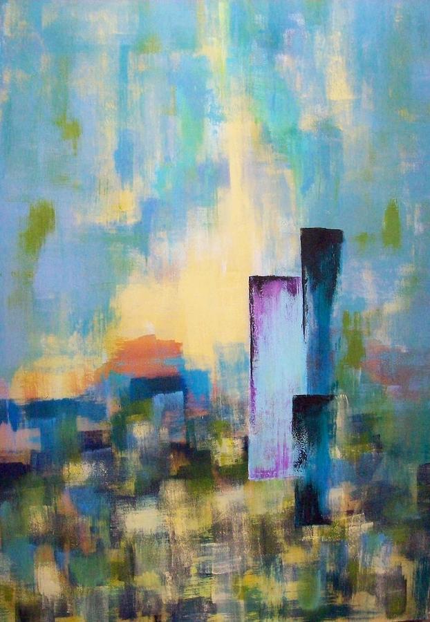 Modern Painting - Urban Dusk by Jane Robinson