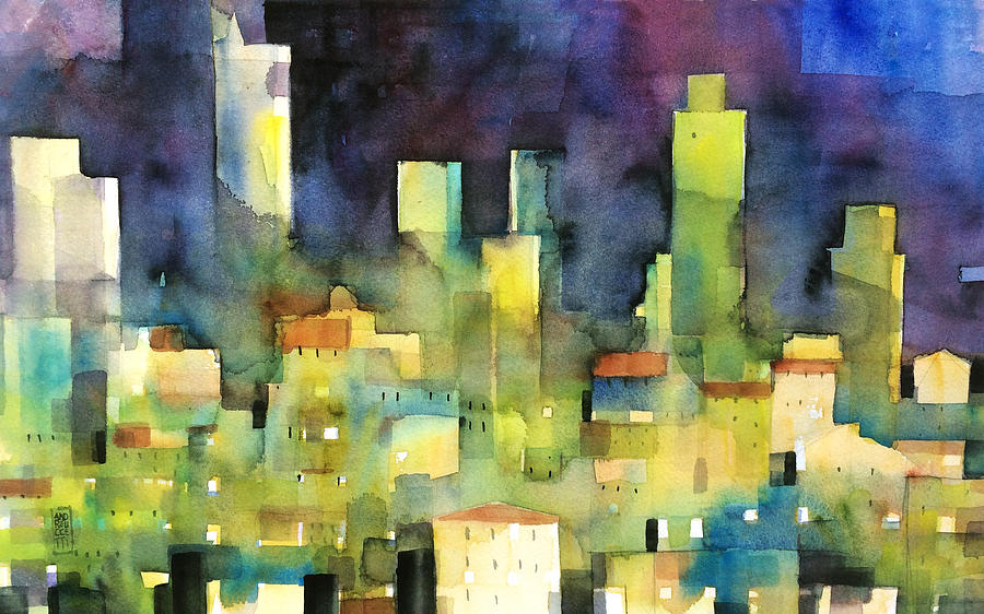 Town Painting - urban landscape 11 - le torri di San Gimignano by Alessandro Andreuccetti