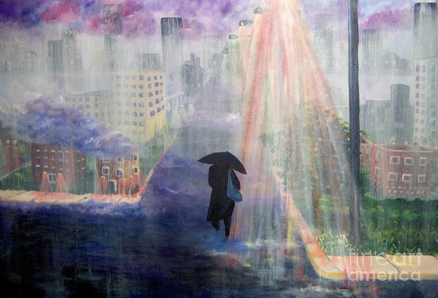 City Painting - Urban Life by Saundra Johnson