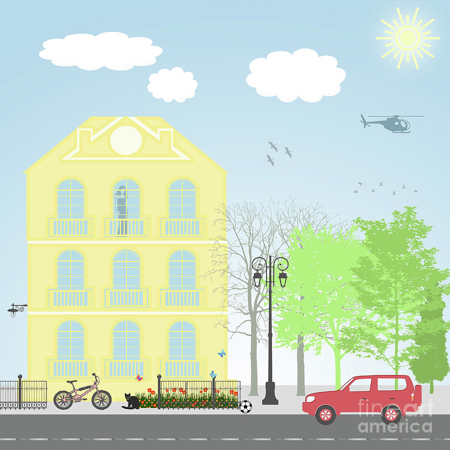 Illustration Digital Art - Urban Scene by Gaspar Avila