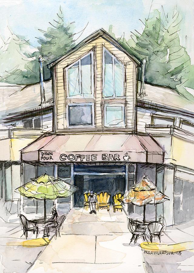 Bridle Trails Painting - Coffee Shop Watercolor Sketch by Olga Shvartsur