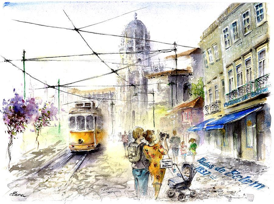 Urban Sketch Lisbon Belem Jeronimos Painting By Elena