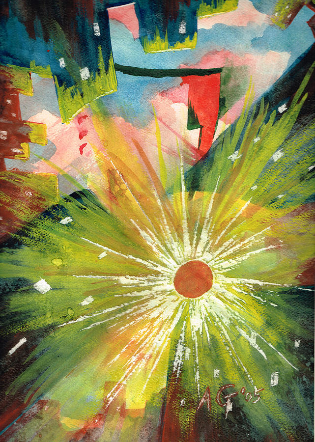 Downtown Painting - Urban Sunburst by Andrew Gillette