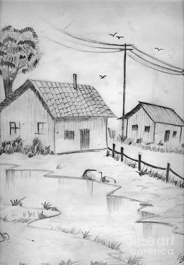 Pencil Drawing Painting - Urbanisation Of Villages - Gaon Chale Shahr Ki Oar by Tanmay Singh