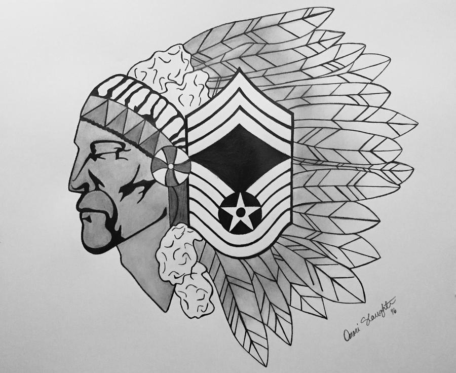 Air Force Drawing   Air Force Chief Master Sergeant By Omari Slaughter