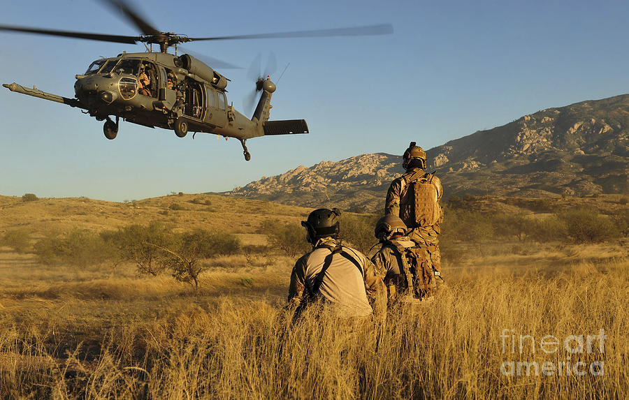 Military Photograph - U.s. Air Force Pararescuemen Signal by Stocktrek Images