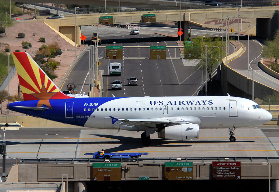 Airplane Photograph - Us Airways Airbus A319-132 N826aw Arizona At Phoenix Sky Harbor March 16 2011 by Brian Lockett