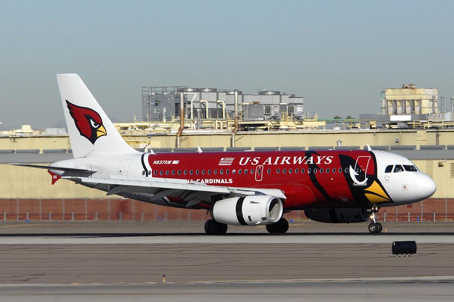 Us Airways Airbus A319 Arizona Cardinals Phoenix Sky Harbor November 10 2010 Photograph by Brian Lockett