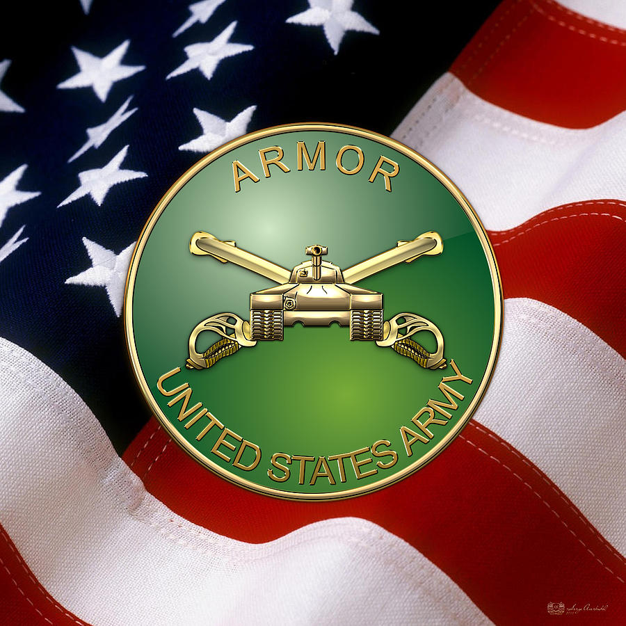 U S Army Armor Branch Insignia Over U S Flag Digital Art By Serge Averbukh
