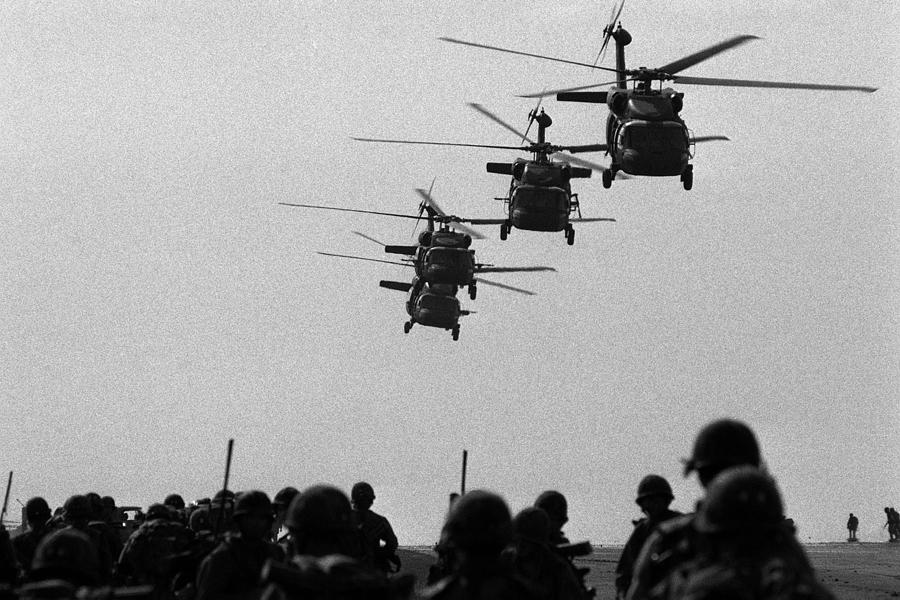History Photograph - U.s. Army Black Hawk Helicopters Depart by Everett