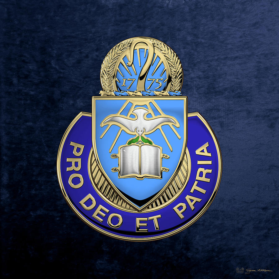 Military Digital Art - U. S. Army Chaplain Corps - Regimental Insignia Over Blue Velvet by Serge Averbukh