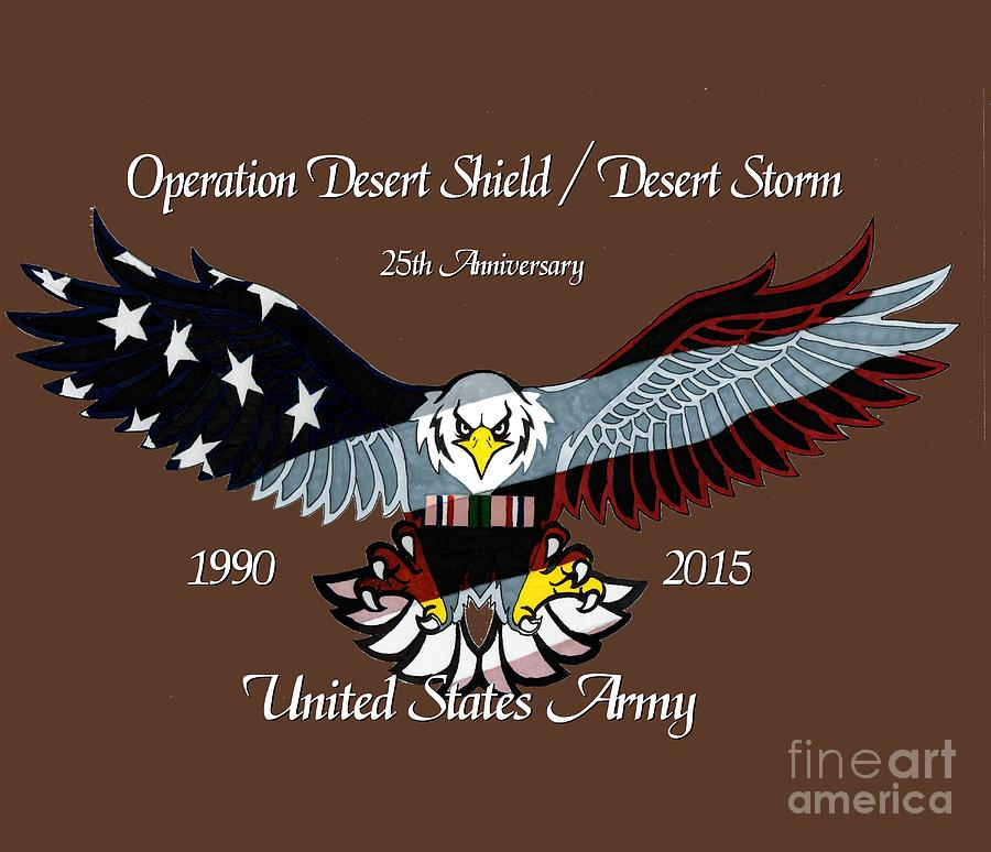 United Drawing - Us Army Desert Storm by Bill Richards