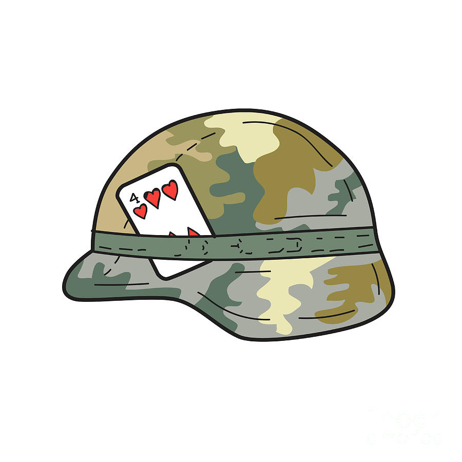 Us Army Helmet 4 Of Hearts Playing Card Drawing Digital Art By