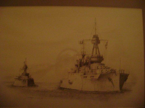Naval Ships Drawing - Us Battleships At Sea by Todd Pengelly