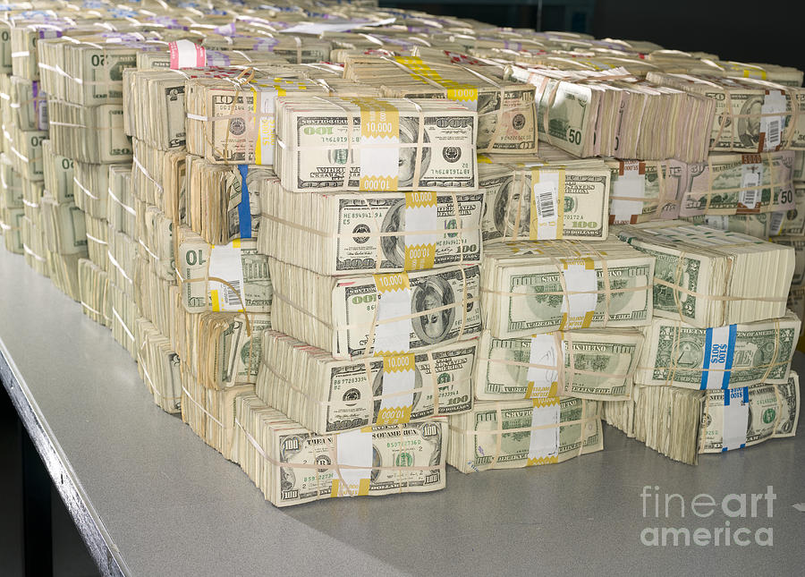 Architectural Photograph - Us Bills In Bundles by Adam Crowley