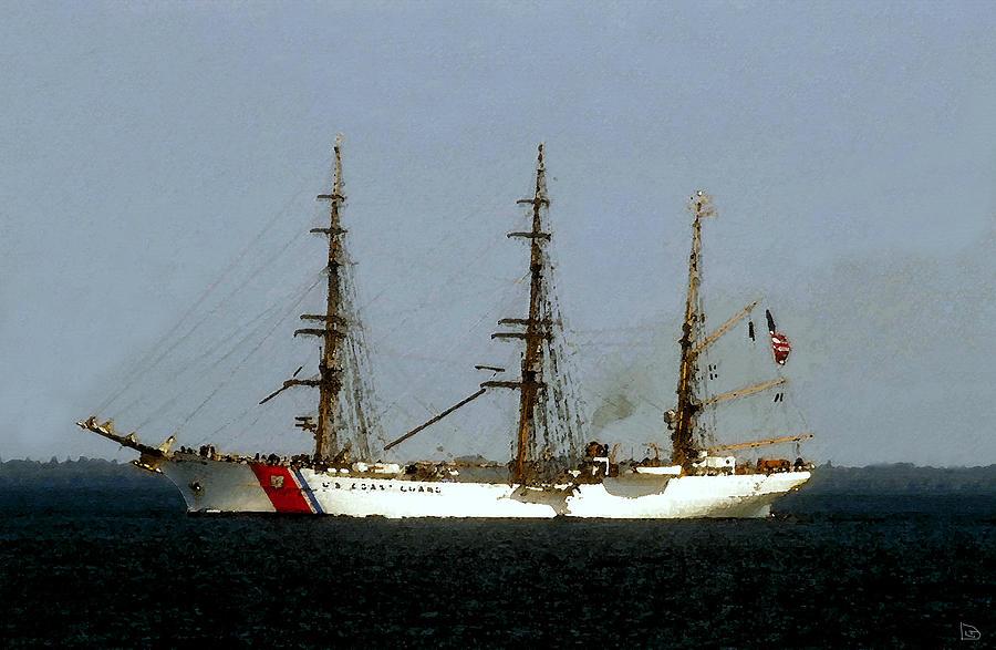 U.s. Coast Guard Painting - U.s. Coast Guard Eagle by David Lee Thompson