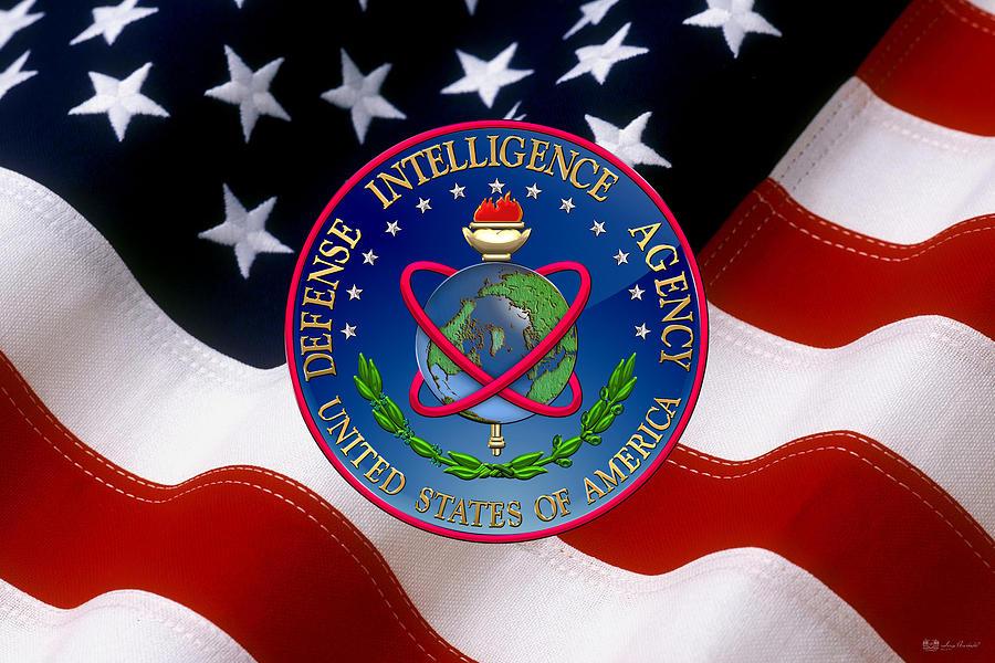 Heraldry Digital Art - U. S. Defense Intelligence Agency - D I A Emblem Over Flag by Serge Averbukh