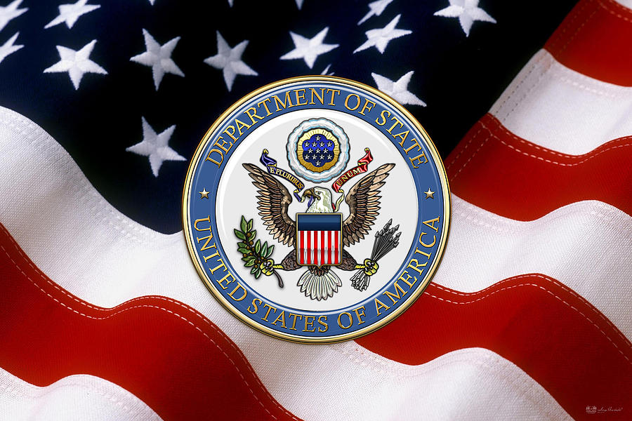 Heraldry Digital Art - U. S. Department Of State - D O S Emblem Over American Flag by Serge Averbukh