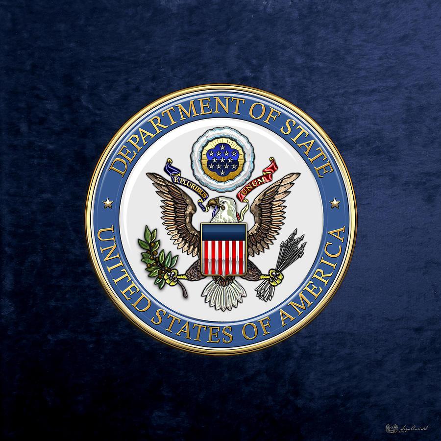 Heraldry Digital Art - U. S. Department Of State - D O S Emblem Over Blue Velvet by Serge Averbukh
