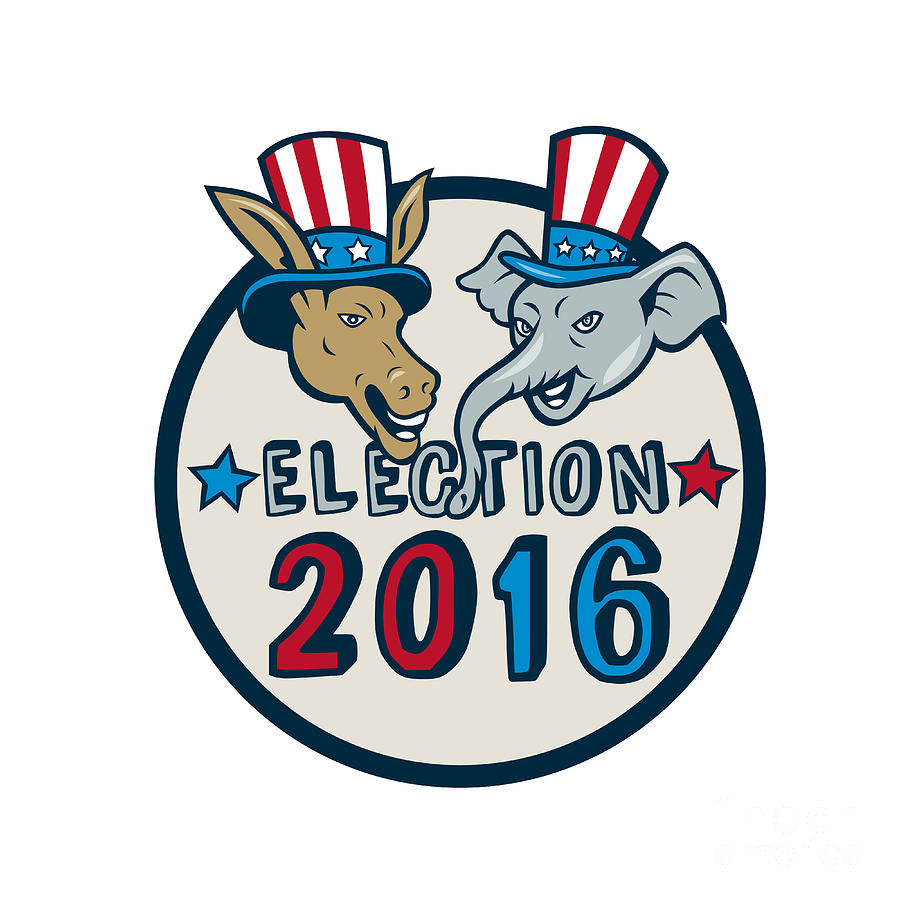 us election 2016 mascot donkey elephant circle cartoon digital art