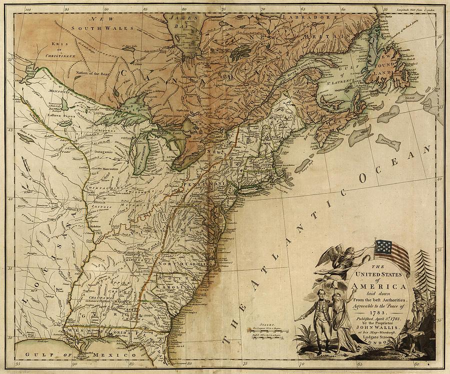 Us Map 1783 Digital Art by Sailor Keddy
