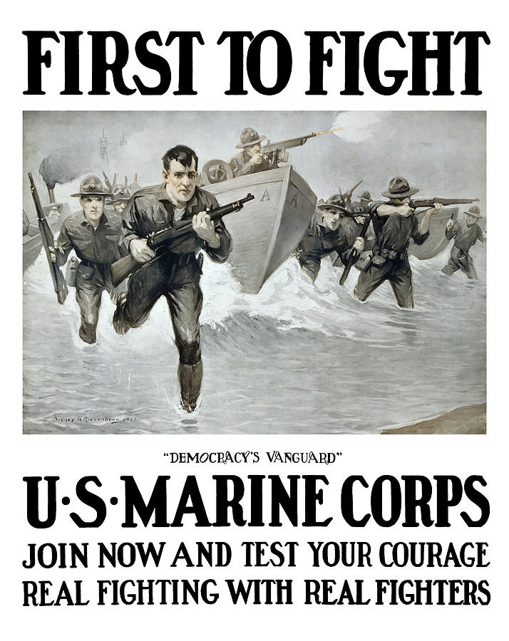 Marines Painting - US Marine Corps - First To Fight  by War Is Hell Store