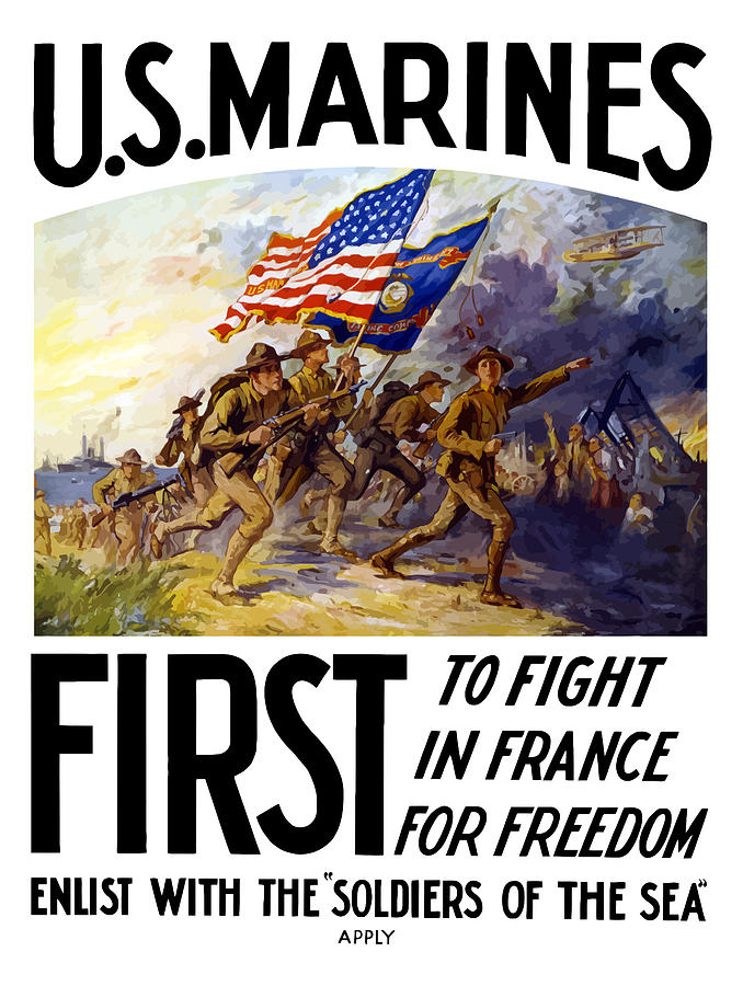 Marines Painting - Us Marines - First To Fight In France by War Is Hell Store
