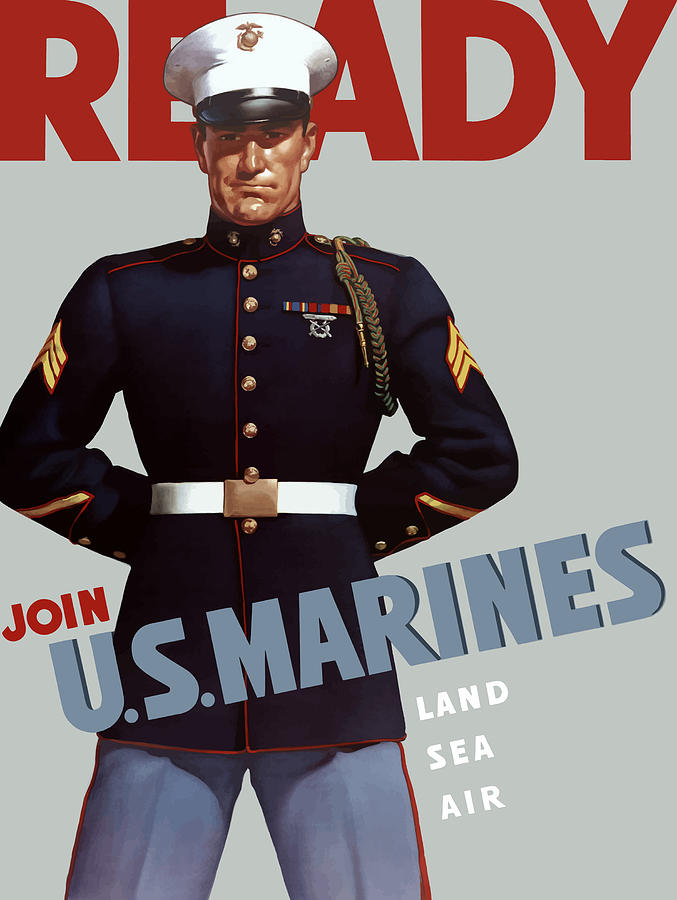 Marine Recruiting Painting - Us Marines - Ready by War Is Hell Store