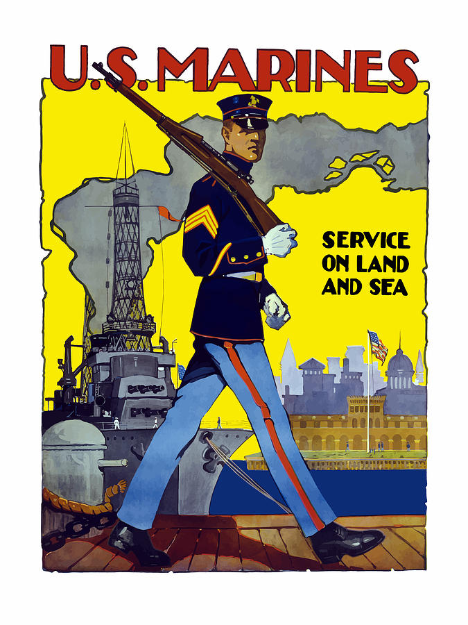 Marines Painting - U.s. Marines - Service On Land And Sea by War Is Hell Store