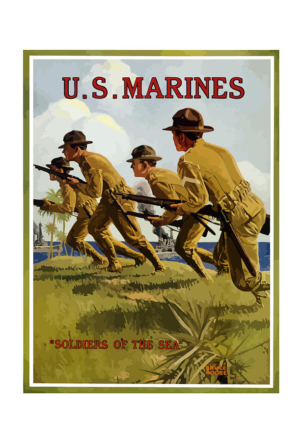 Marines Painting - US Marines - Soldiers Of The Sea by War Is Hell Store