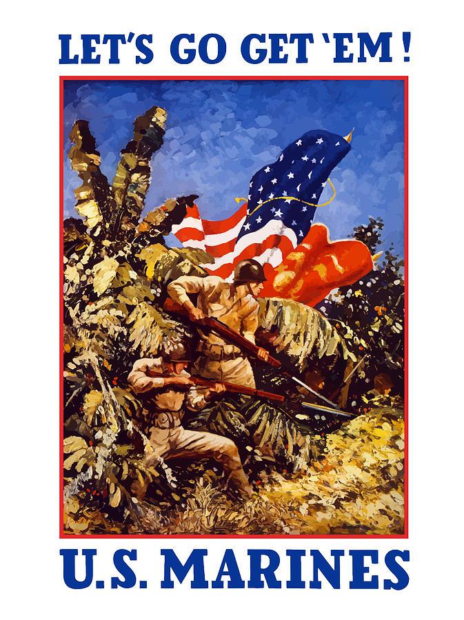 Marines Painting - US Marines - WW2  by War Is Hell Store