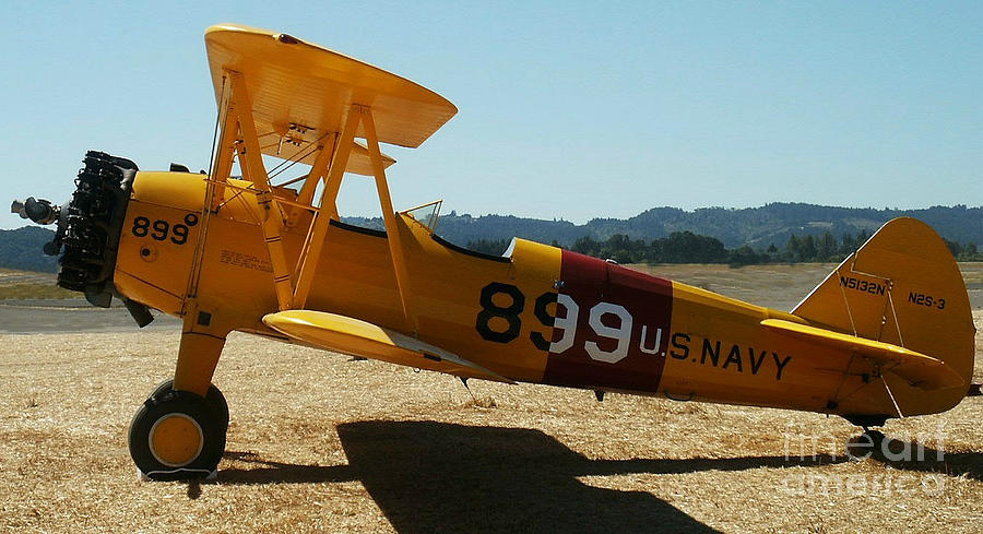 Diane Berry Painting - US Navy biplane by Diane E Berry