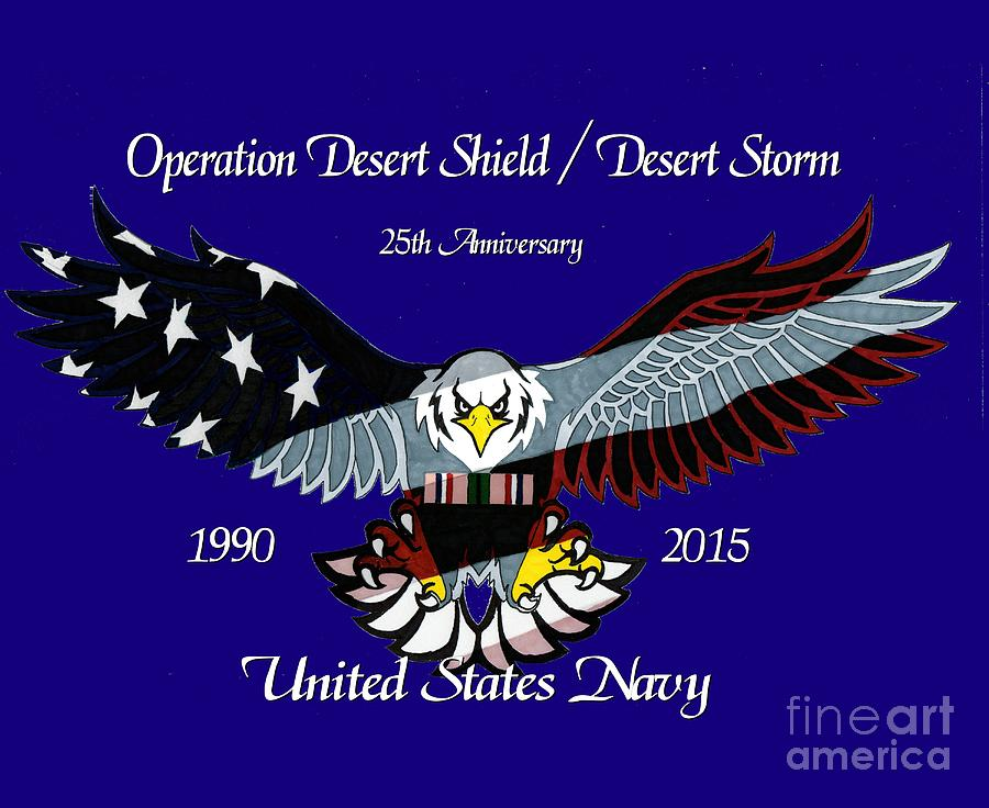 United Drawing - Us Navy Desert Storm by Bill Richards