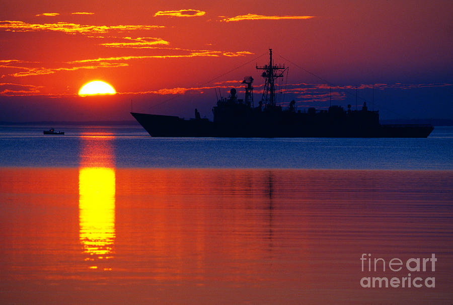Sunrise Photograph - Us Navy Destroyer At Sunrise by Thomas R Fletcher